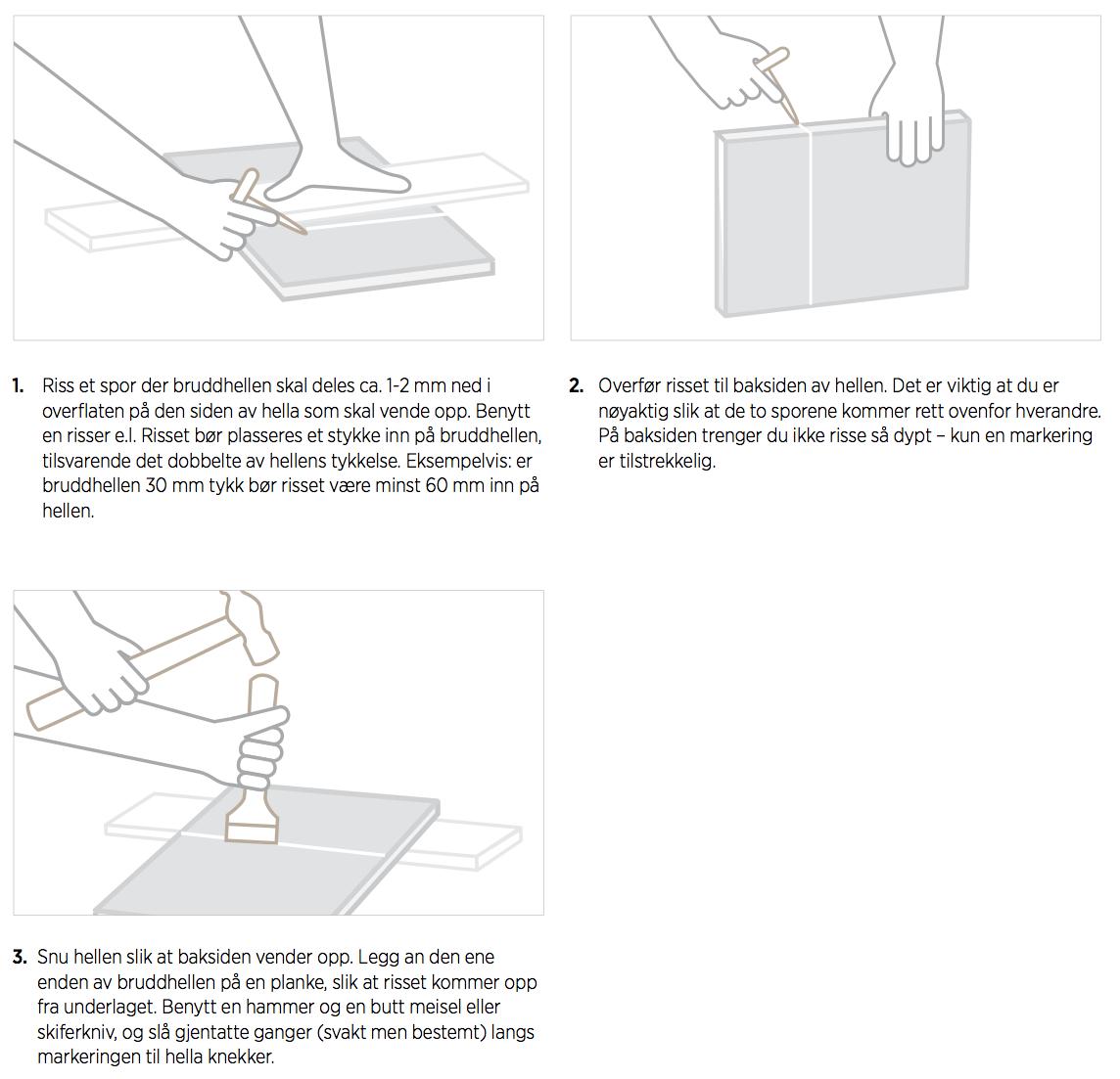 Monteringsveiledning bruddheller mørtel - tilpasning