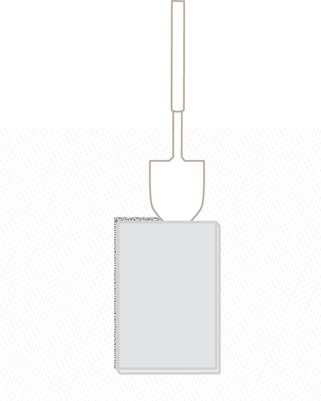 En figur som viser hvordan man fjerner torv for å legge en tråkchelle i skifer
