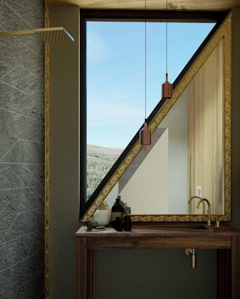Et lite bad i en liten luksushytte som henger utenfor en skrent på 900 meters høyde i Rondane
