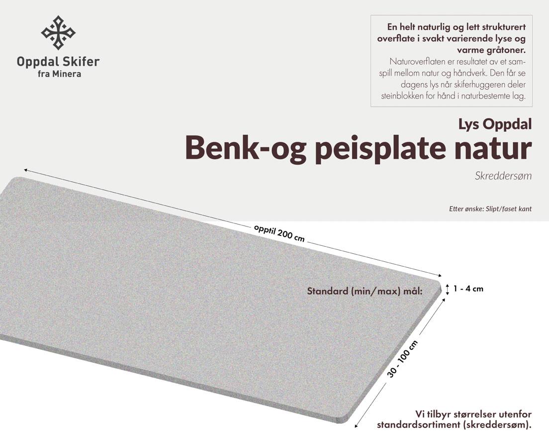 Produktark Benkeplate av lys Oppdal skifer i natur overflate