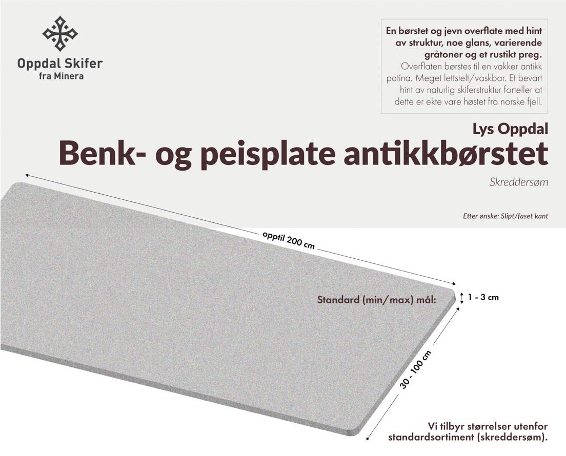 Produktark Benkeplate av lys Oppdal skifer i antikkbørstet overflate