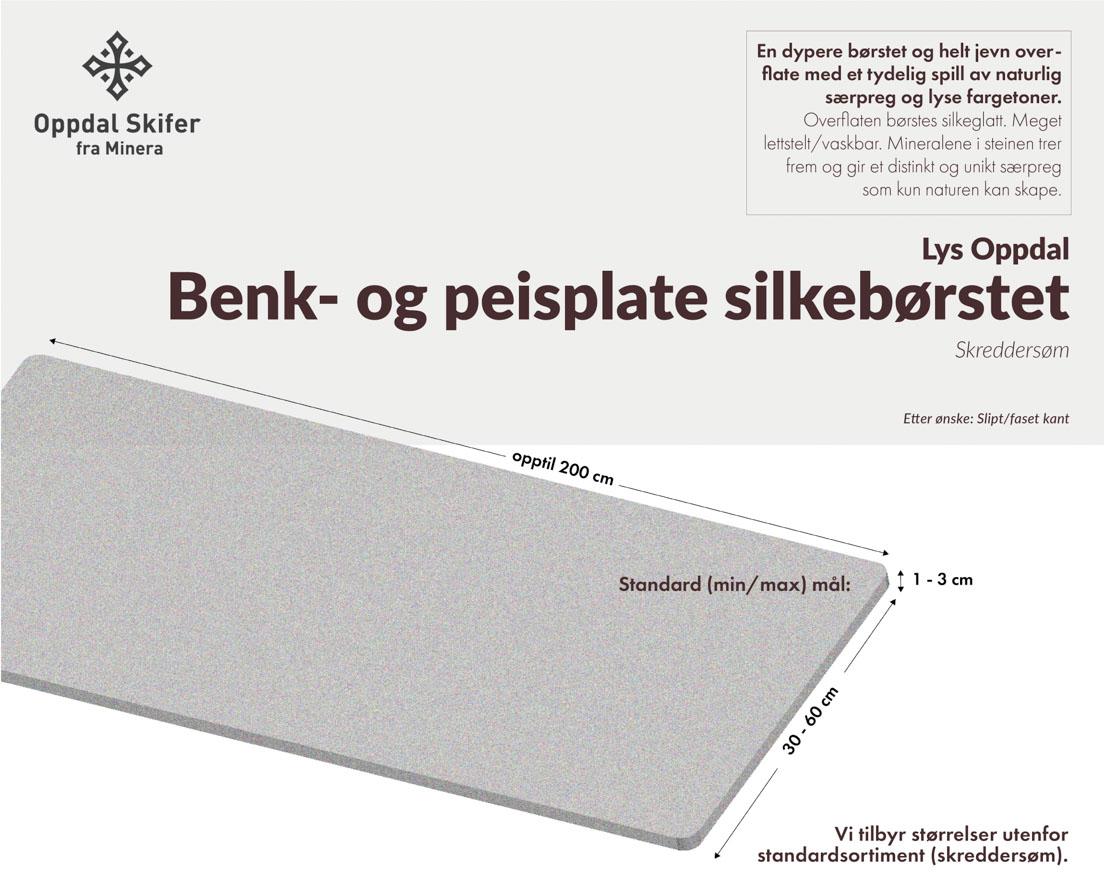 Produktark Benkeplate av lys Oppdal skifer i silkebørstet overflate