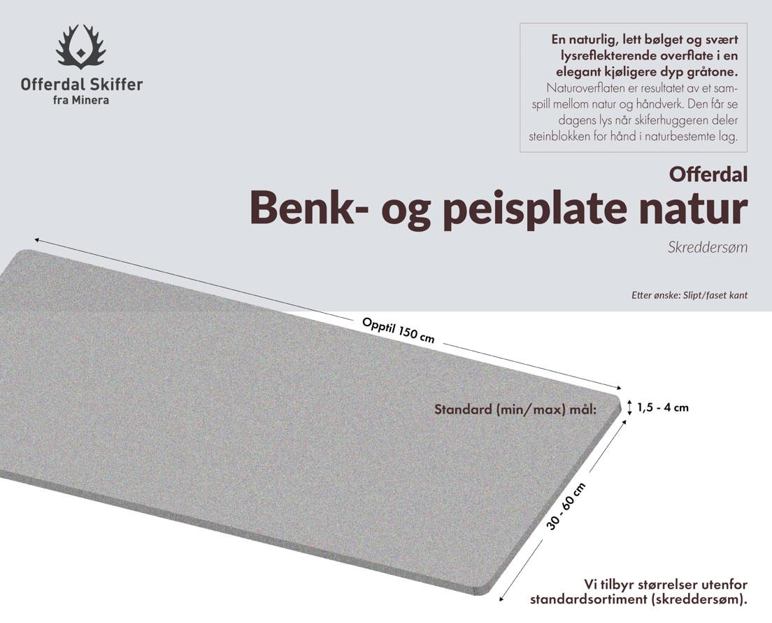 En plate av skifer (benkeplate) i Offerdal skifer i natur overflate