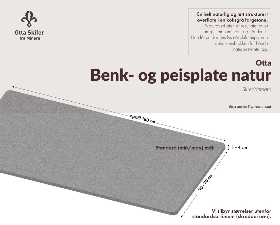 Produktark Benkeplate Otta skifer i natur overflate