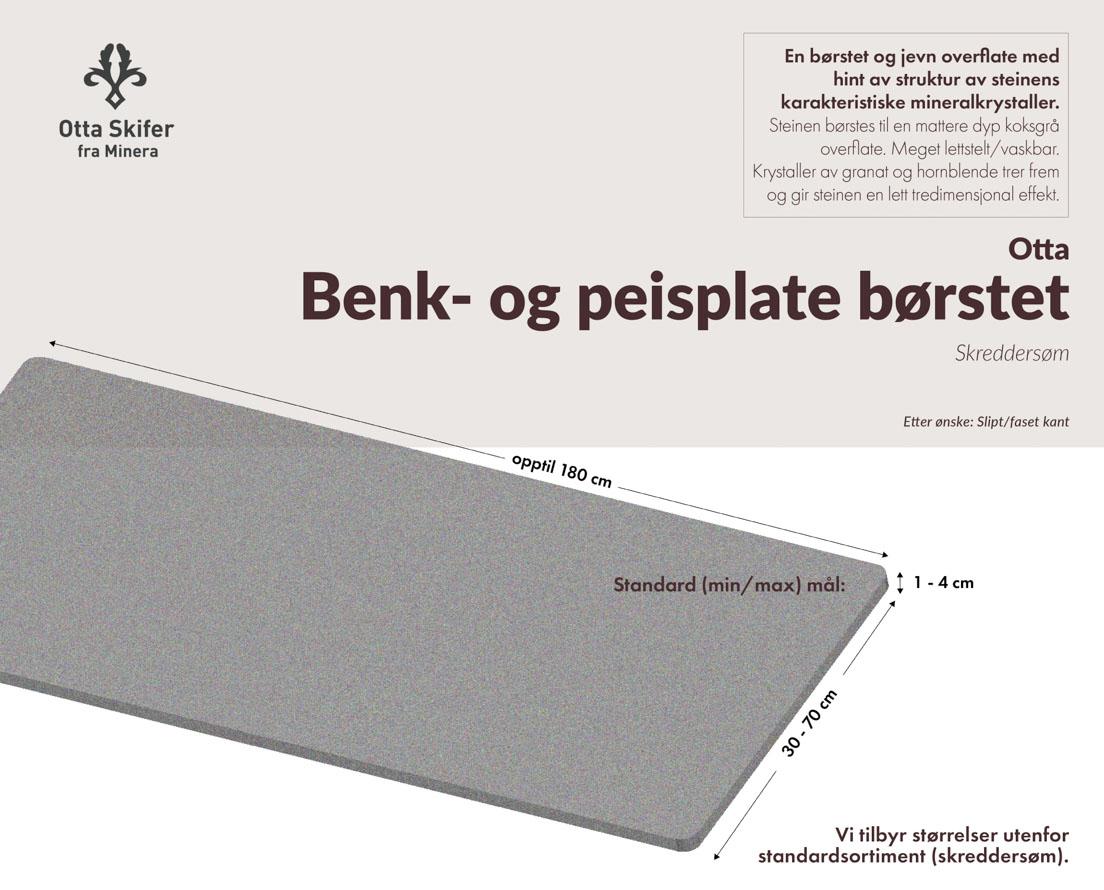 Produktark Benkeplate Otta skifer i børstet overflate
