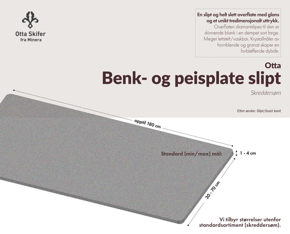 Produktark Benkeplate Otta skifer i slipt overflate