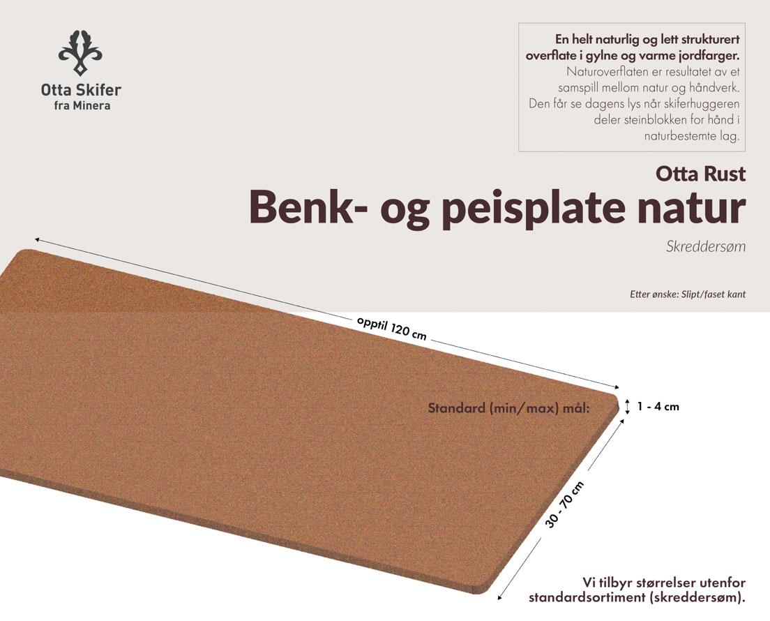 Produktark Benkeplate Otta Rust skifer i natur overflate