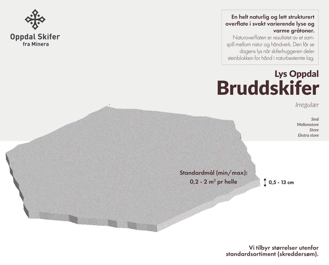 Produktark lys Oppdal bruddskifer / bruddheller