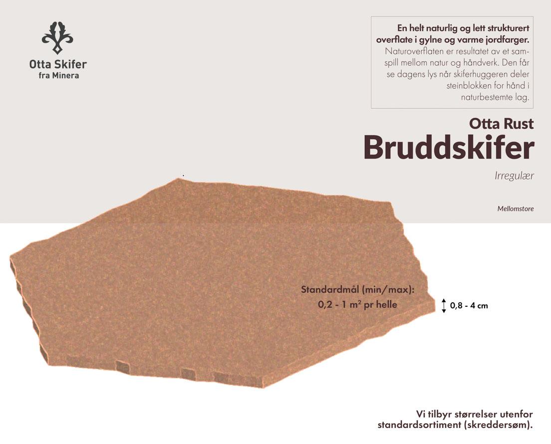 Produktark bruddskifer / bruddheller Otta Rust natur fra Minera