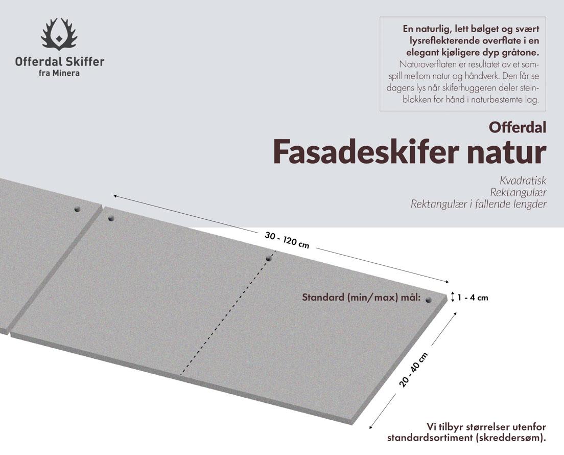 Produktark fasadeplate Offerdal skifer natur overflate