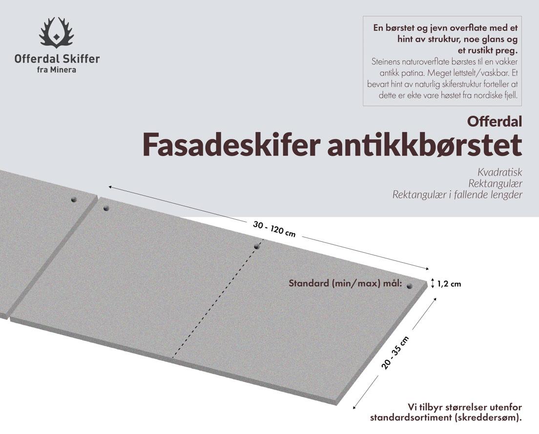 Produktark fasadeplate i Offerdal antikkbørstet skifer