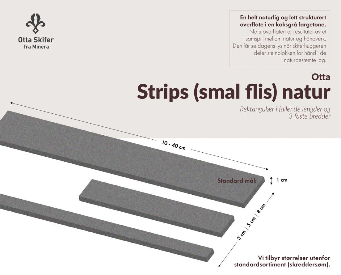 Produktark skifer Otta natur smal flis (strips)