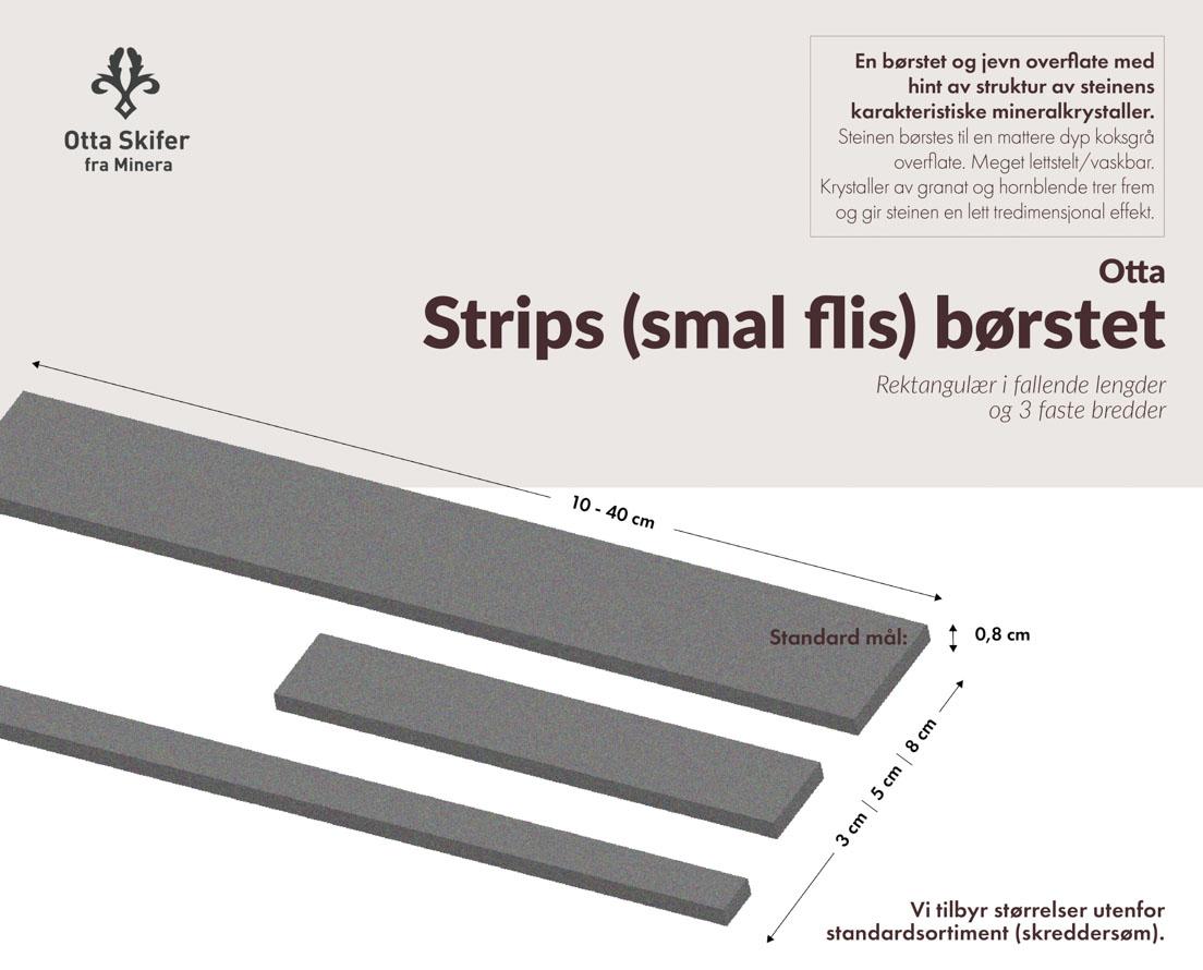 Produktark fliser kalt strips i skifer Otta børstet