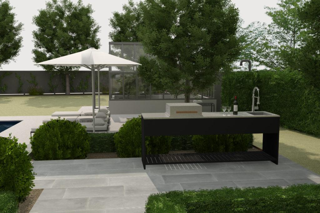 Et utekjøkken i en moderne og minimalistisk hage