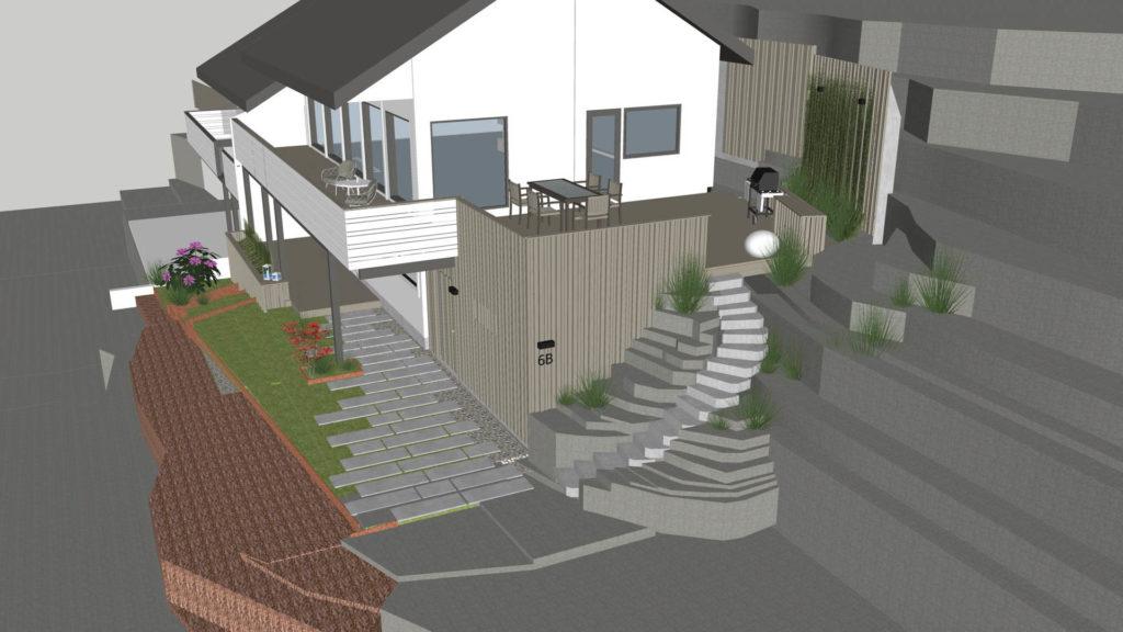 En plantegning som viser hvordan skifer er planlagt rundt huset både som tråkkhellere og massive naturtrinn i lys Oppdalskifer
