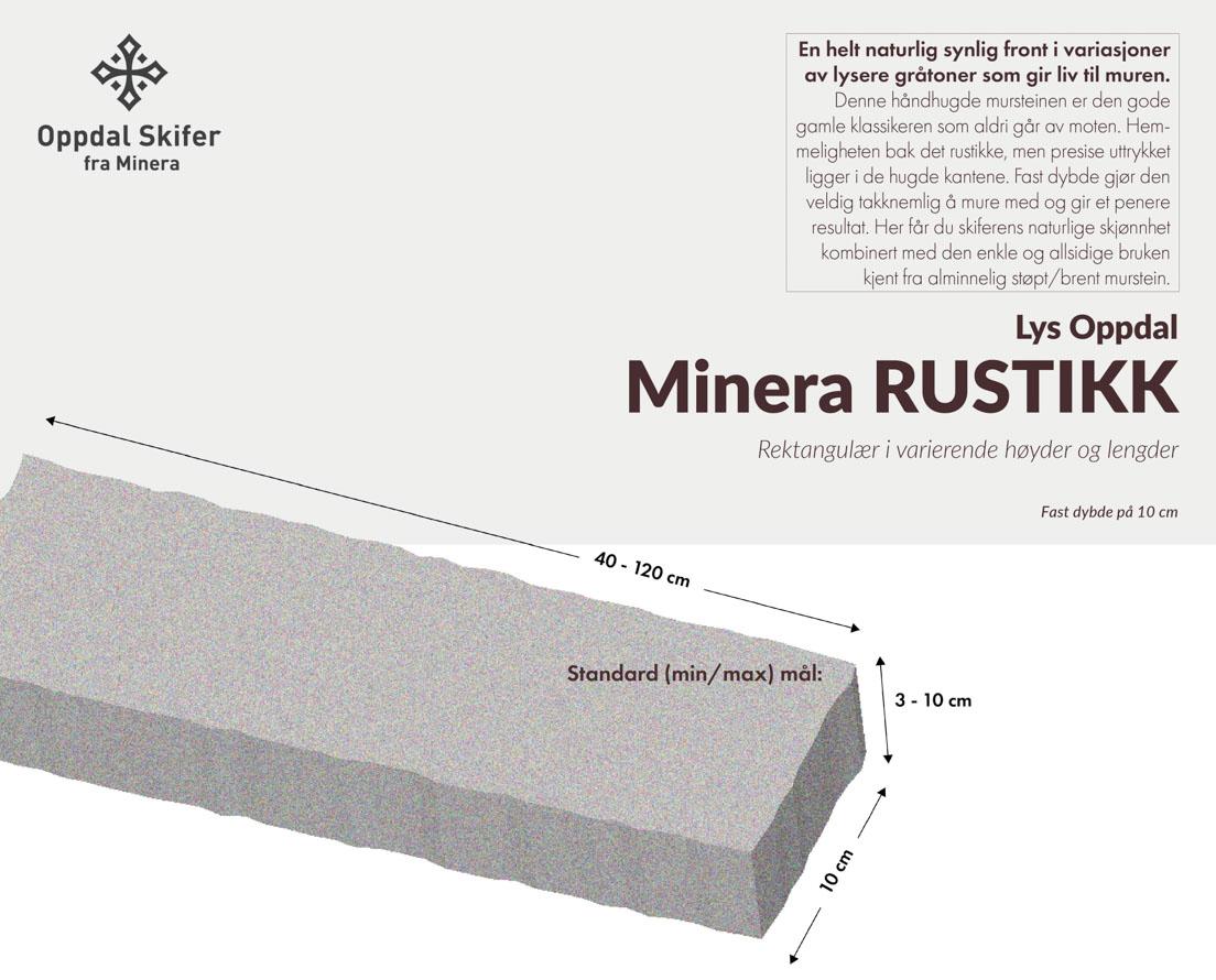 Produktark murstein av skifer kalt Minera Rustikk av lys Oppdal skifer