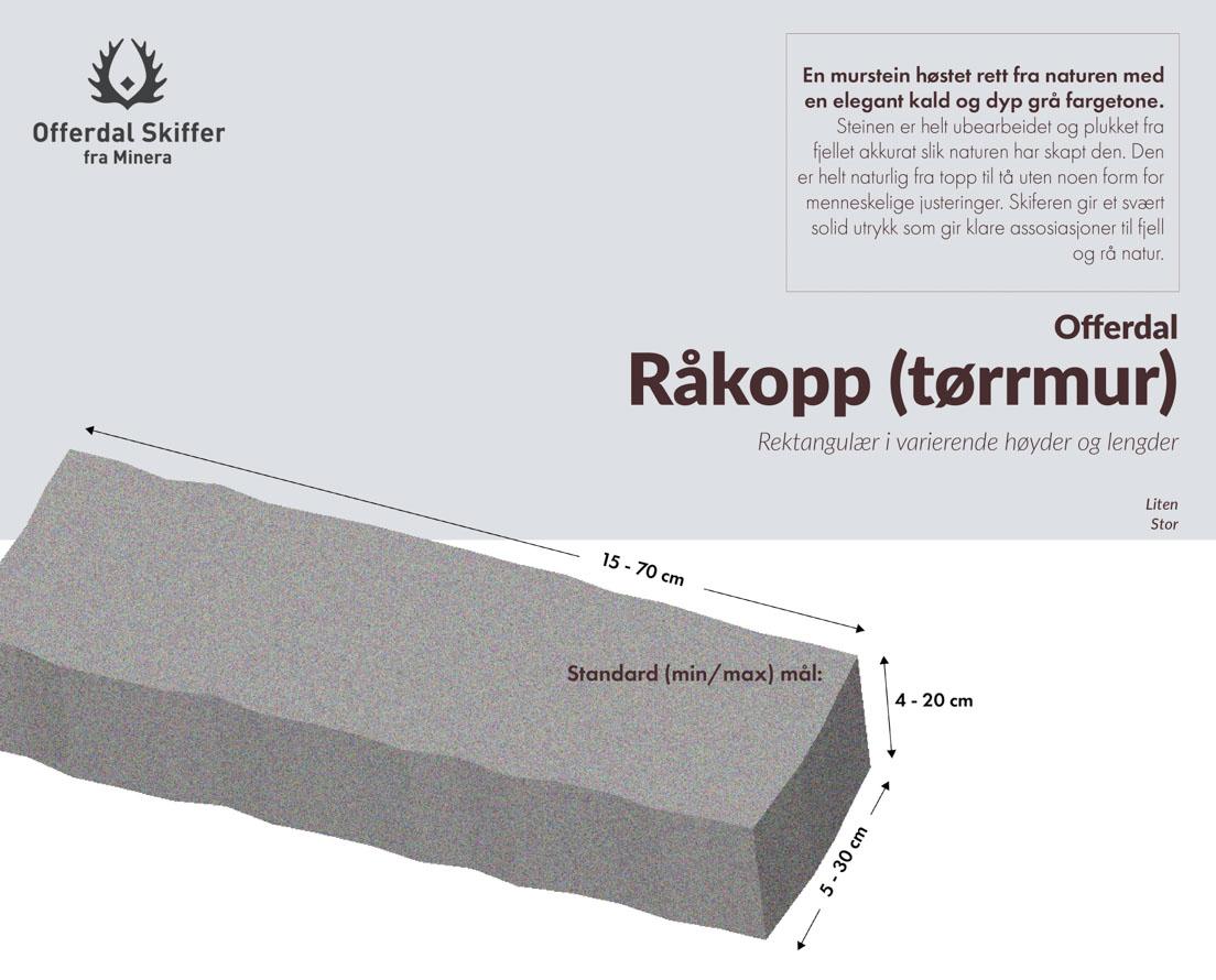 Produktark Offerdal skifer murstein råkopp (tørrmur)