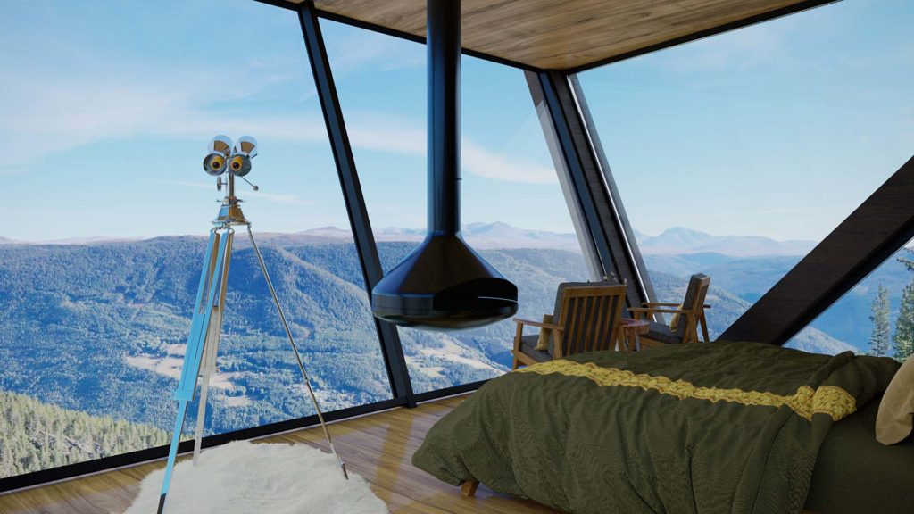 En trehytte som henger utfor en skrent 900 meter over havet Rondane nasjonalpark. Hytta har fokus på lokale naturmaterialer og har sorte Ottafliser i geometrisk mønster på badet. På bidet ser man ut over utsikten og ned fra taket henger det en sort ovn.