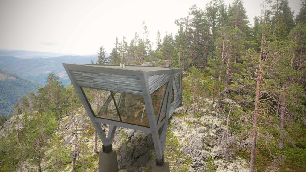 En trehytte som henger utfor en skrent 900 meter over havet   Rondane nasjonalpark. Hytta har fokus på lokale naturmaterialer og har sorte Ottafliser i geometrisk mønster på badet.