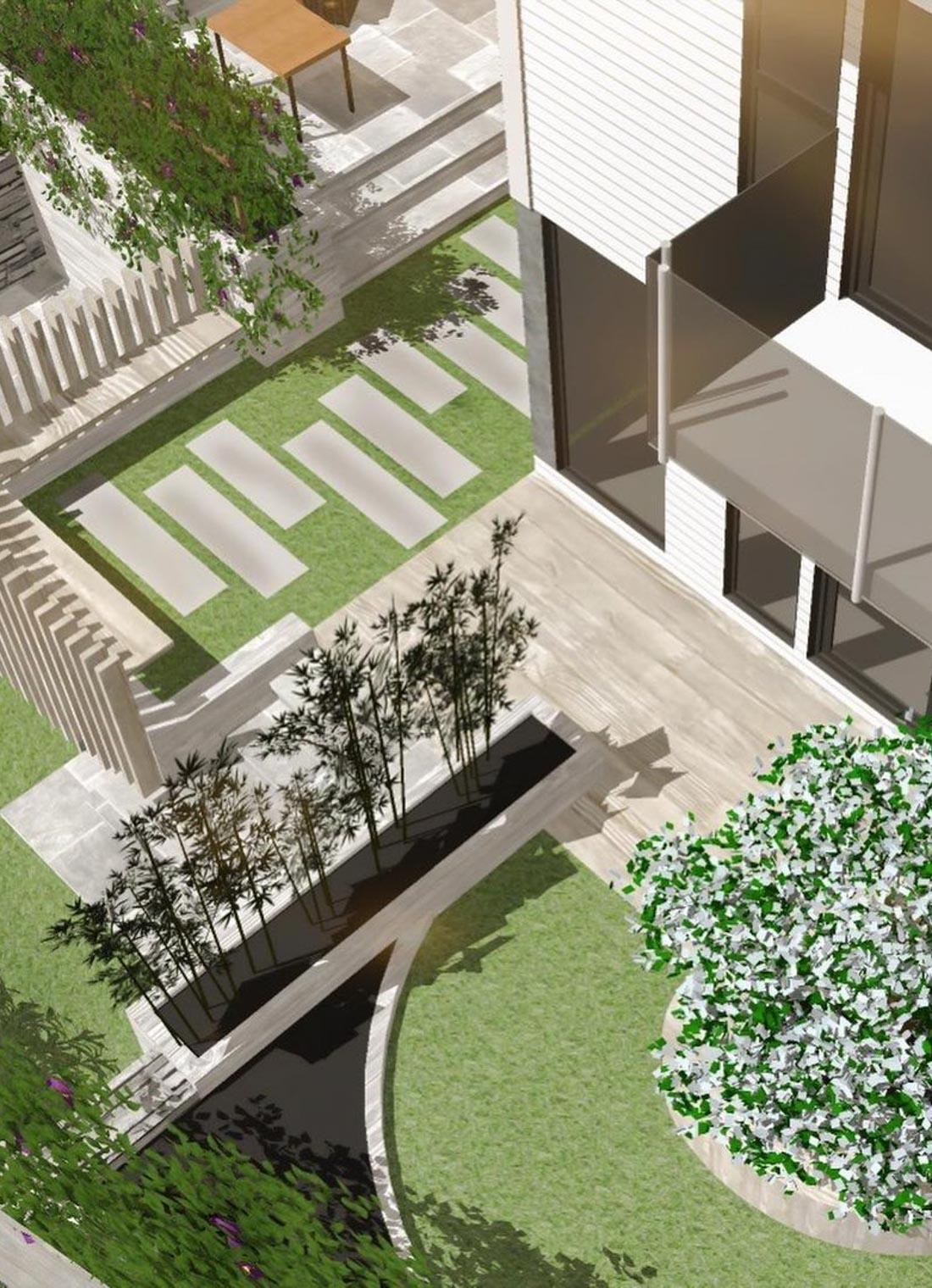 En 3 D hageplan-tegning som viser en hage med tråkkheller i skifer, terrasse og beplantning