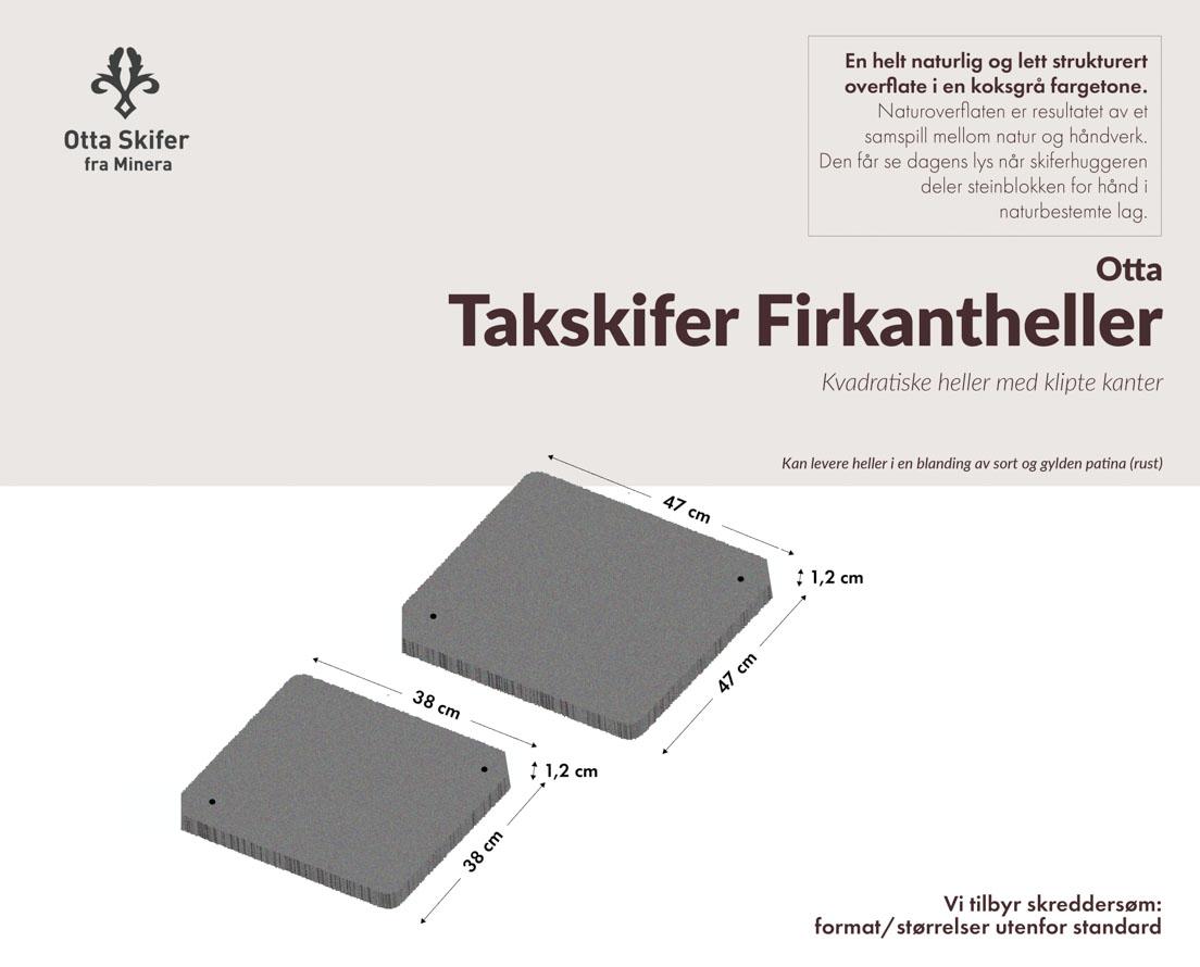 Produktark firkantheller til tak i Ottaskifer
