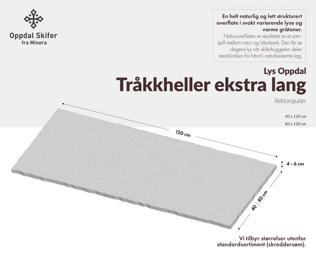 Produktark ekstra lang tråkkhelle i lys Oppdal skifer