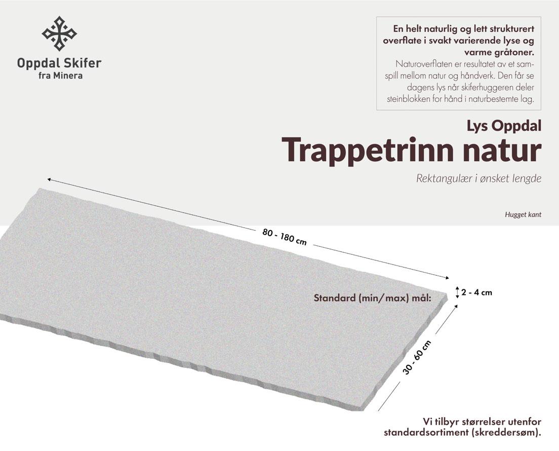 Produktark trappetrinn i Lys Oppdal skifer