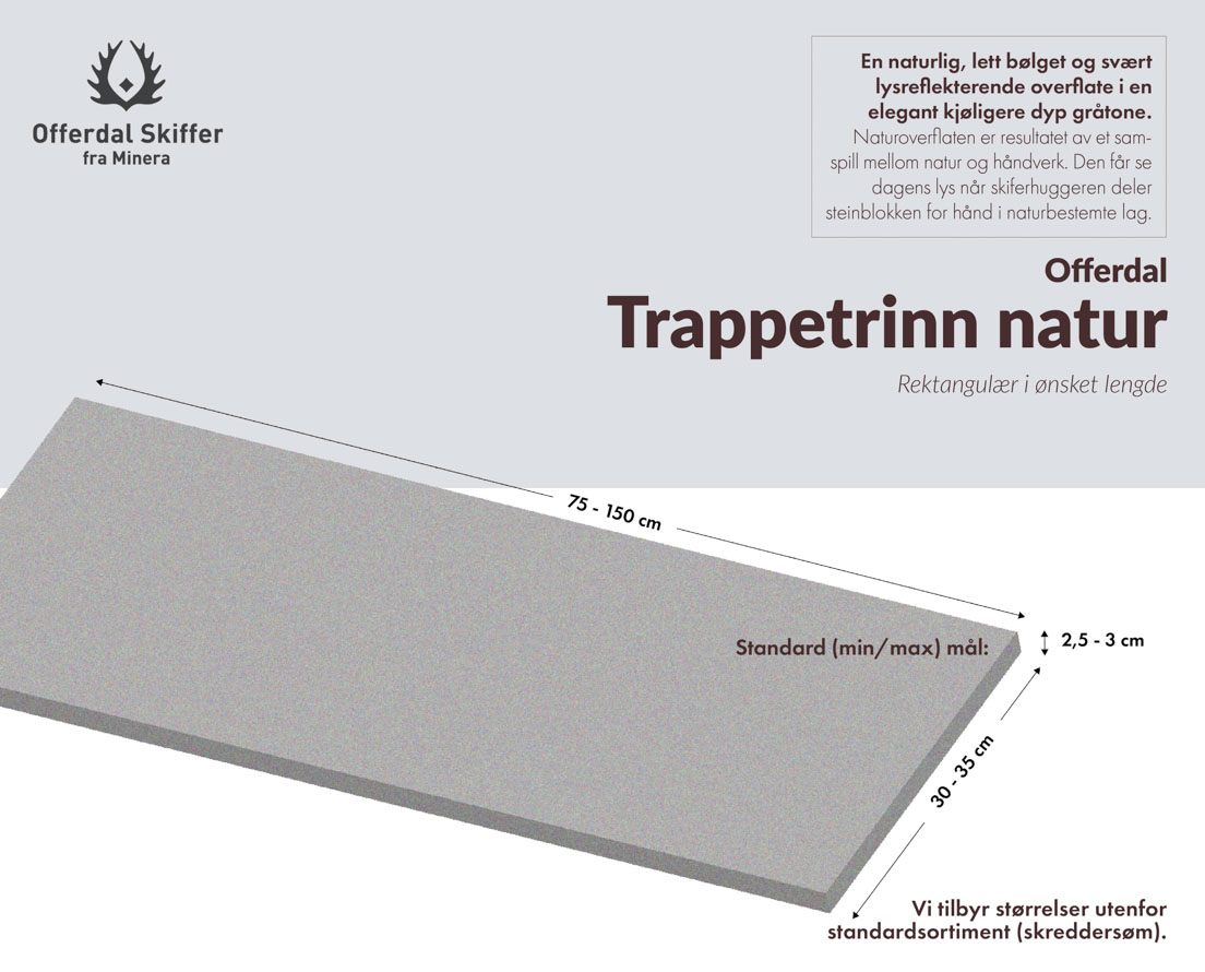 Produktark trappetrinn av Offerdal skifer i natur overflate