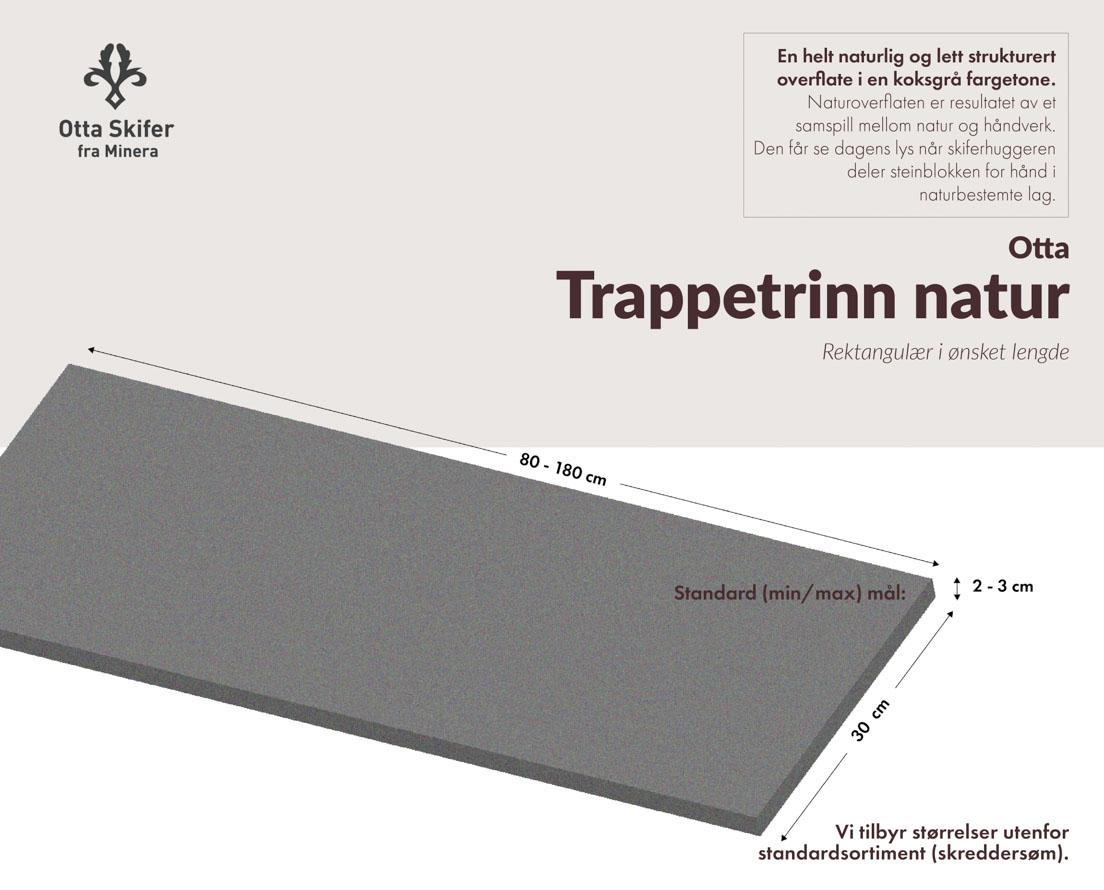 Produktark Trappetrinn i Otta skifer i natur overflate