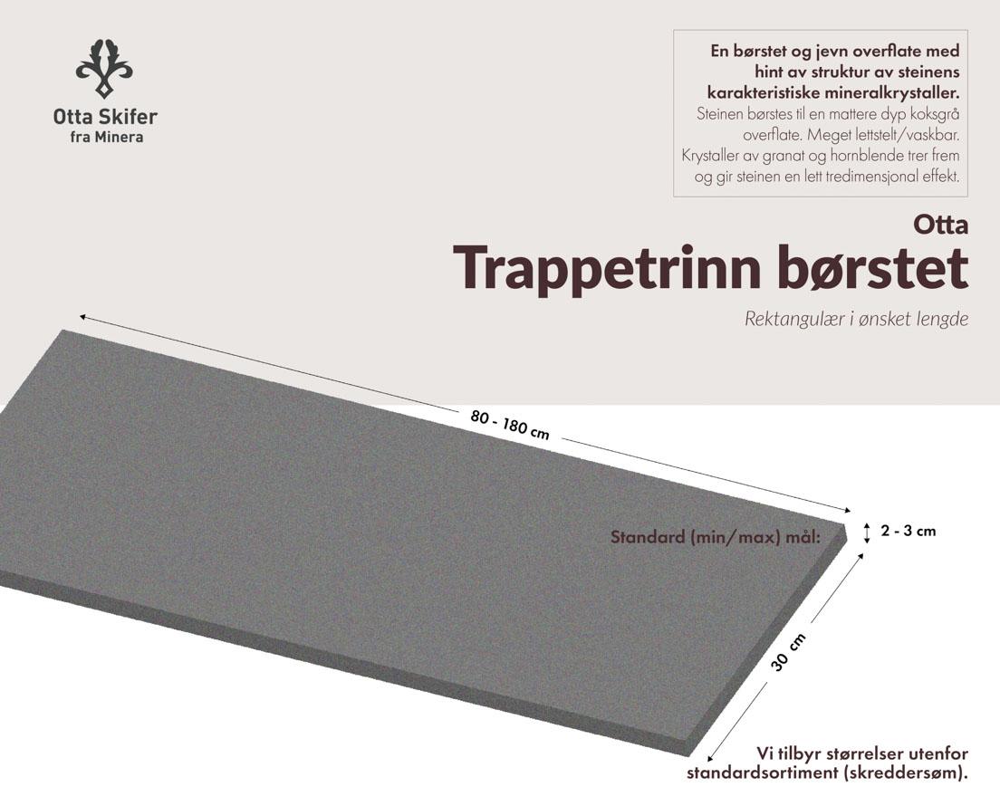 Produktark Trappetrinn i Otta skifer i børstet overflate