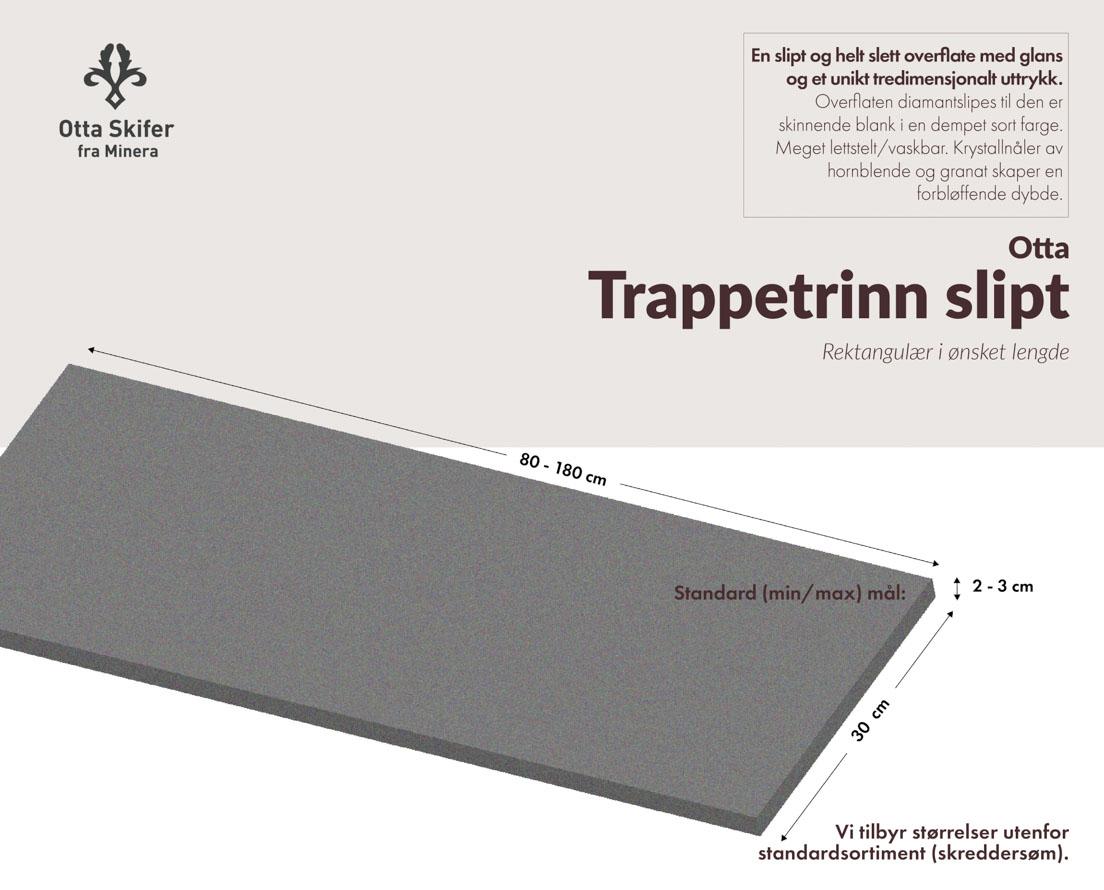 Produktark Trappetrinn i Otta skifer i slipt overflate