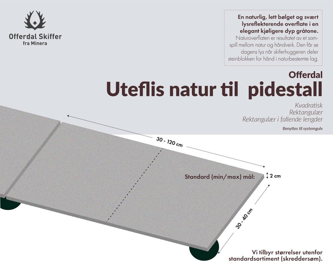 Produktark uteflis til pidestall av Offerdal natur skifer