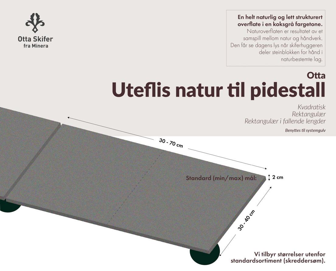 Produktark uteflis av Otta natur skifer til pidestall