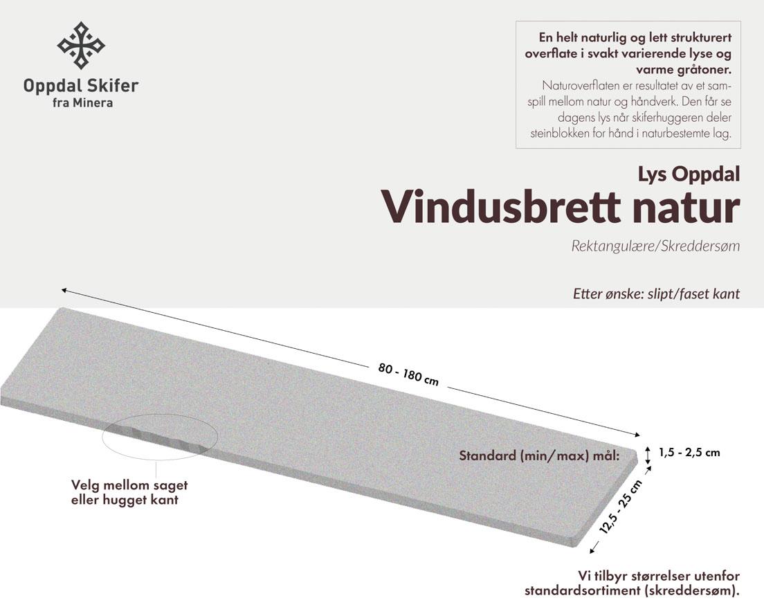 Produktark vindusbrett i Offerdalskifer i natur overflate