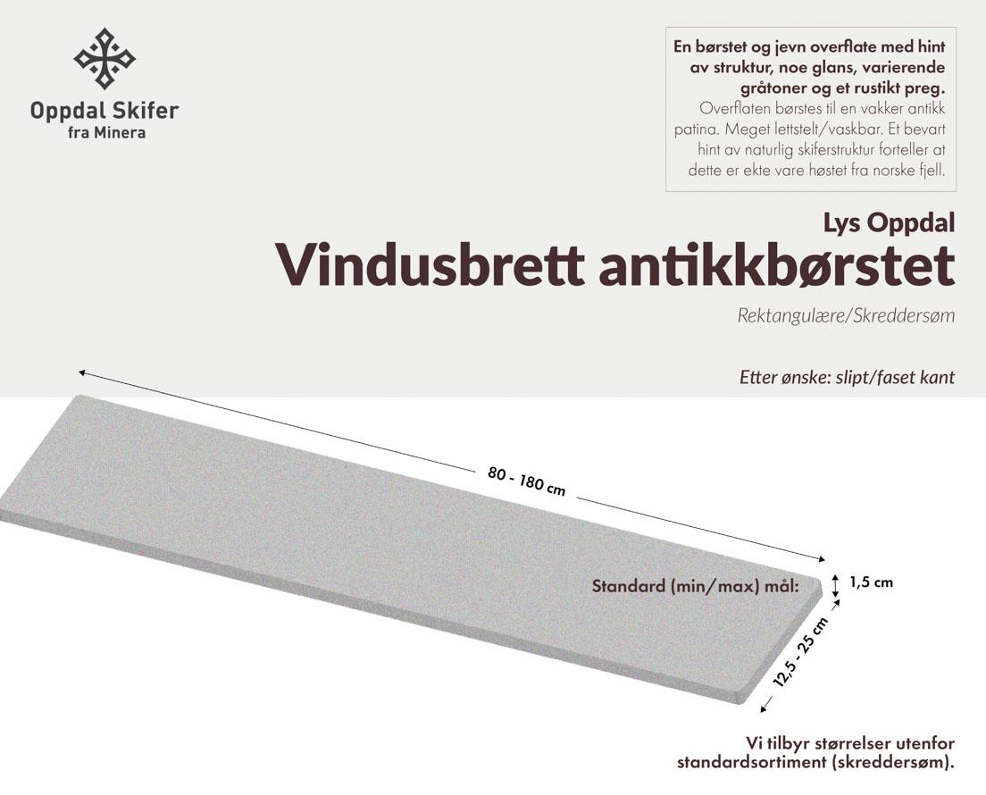 Produktark vindusbrett i Offerdalskifer i antikkbørstet overflate