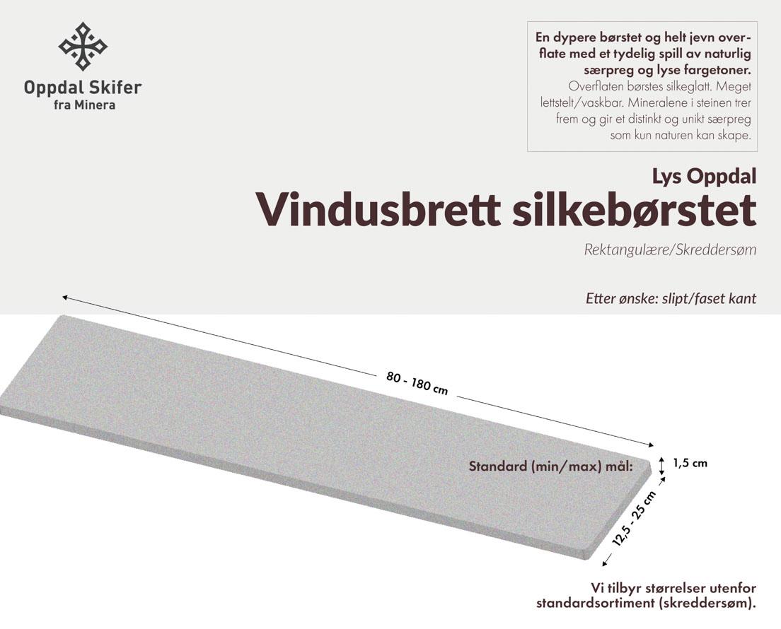 Produktark vindusbrett i lys Oppdal skifer i silkebørset overflate