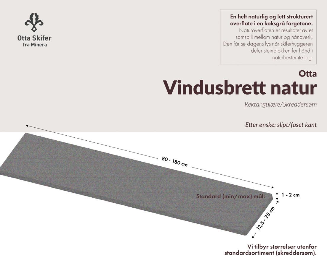 Produktark Vindusbrett i Ottaskifer i natur overflate
