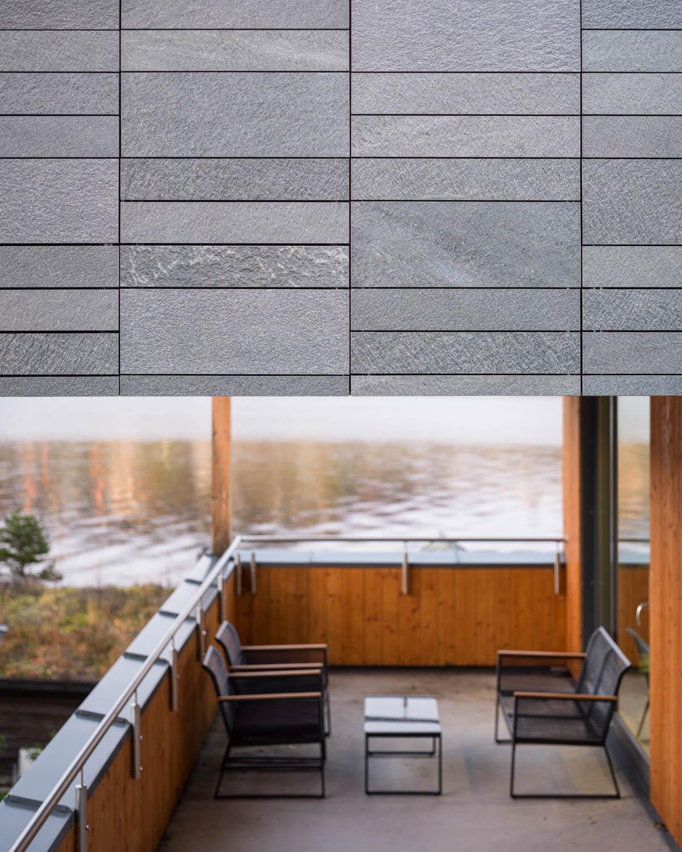 En enebolig med terrasse mot sjøen og med fasadeskifer av grå skifer av typen Offerdalskifer i ulike høyder.