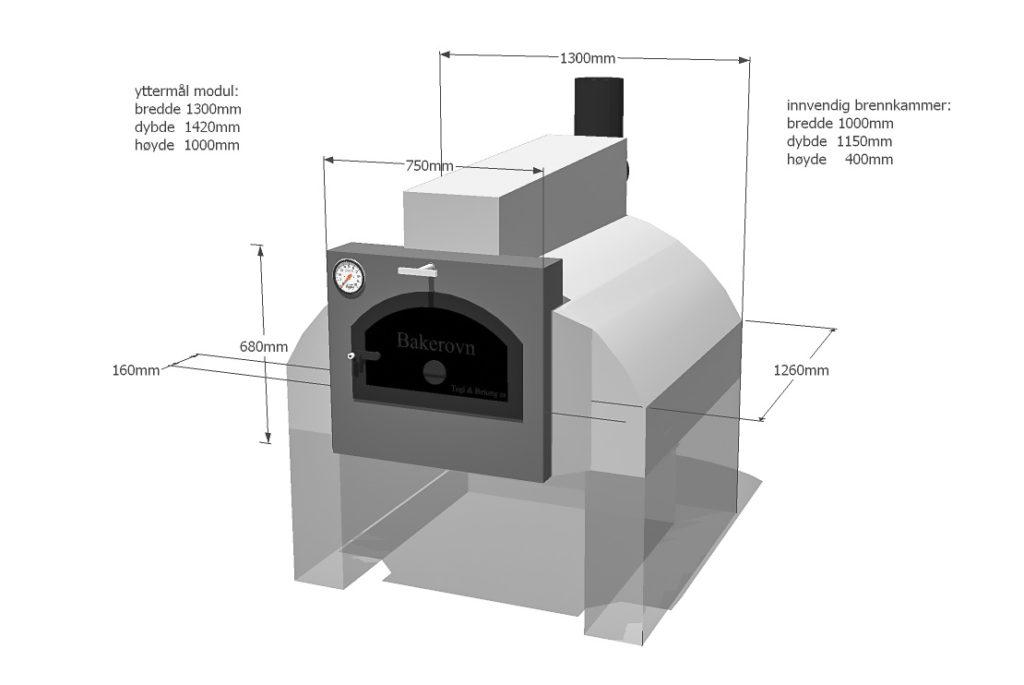 En prinsippskisse med mål for en vedfyrt bakerovn / pizzaovn