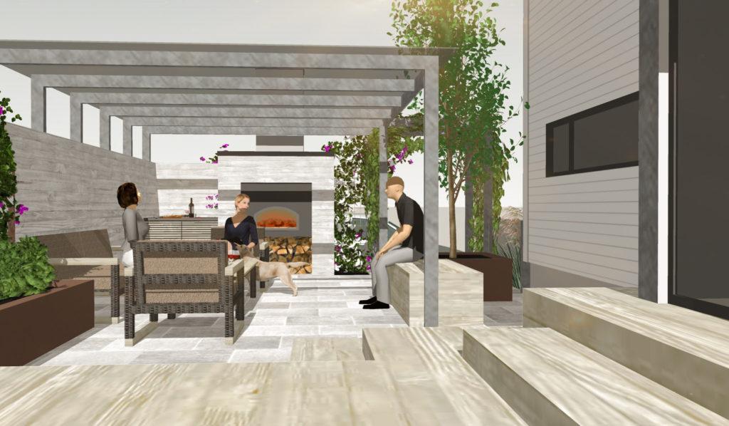 En 3D hageplan-tegning med en terrasse uteplass med sittergruppe og utepeis og bakerovn med lys Oppdalskifer murstein tørrmur.
