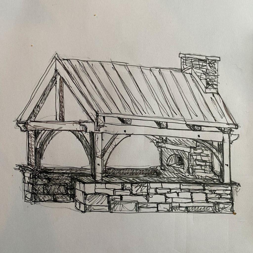 En skisse som viser en plan for et utekjøkken bygget på en grunnmur av skifer fra Offerdal